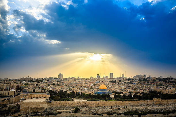 Jerusalem Dramatic sky over Jerusalem, view from the Olive Mountain, taken shortly before a thunderstorm dome of the rock stock pictures, royalty-free photos & images