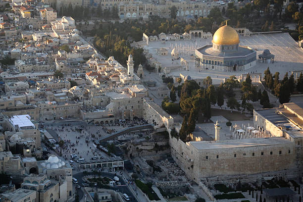 Jerusalem Aerial view of the Old City of Jerusalem Dome of the Rock mosque and the Wailing Wall dome of the rock stock pictures, royalty-free photos & images