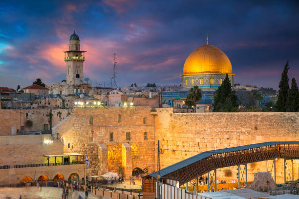 Jerusalem. Cityscape image of Jerusalem, Israel with Dome of the Rock and Western Wall at sunset. dome of the rock stock pictures, royalty-free photos & images