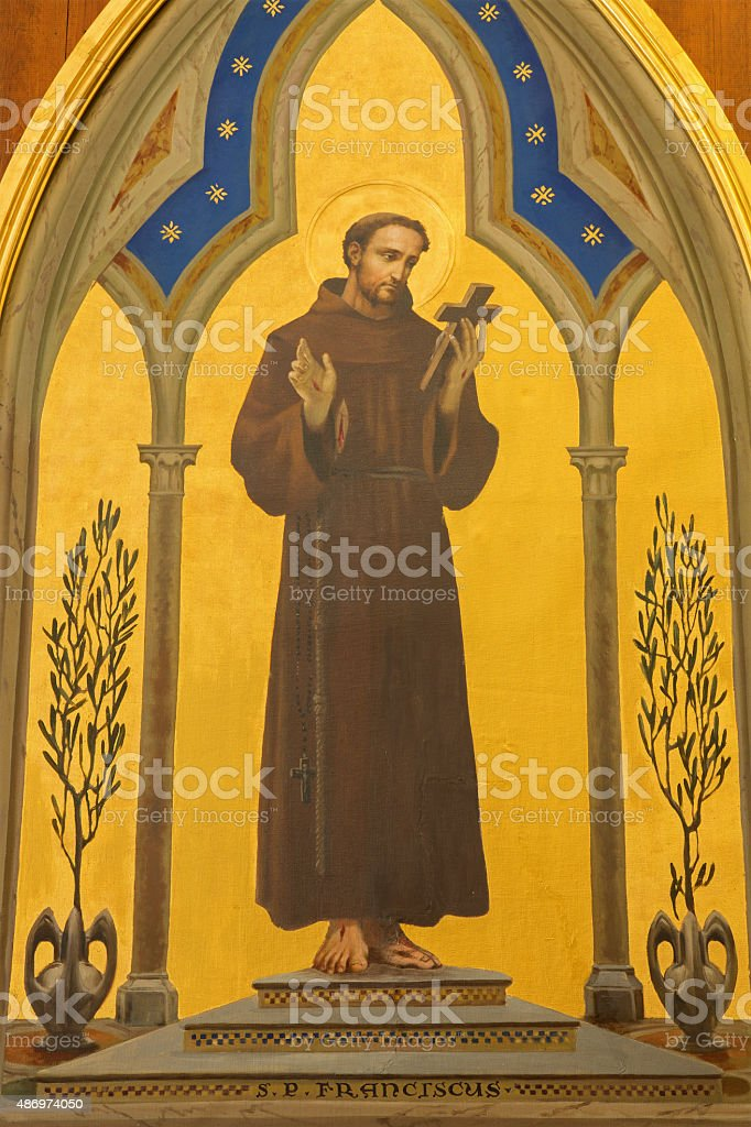 Jerusalem -  St. Francis of Assisi paint stock photo