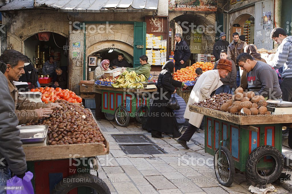 Jerusalem, Street Market in the Muslim Quarter royalty-free stock photo