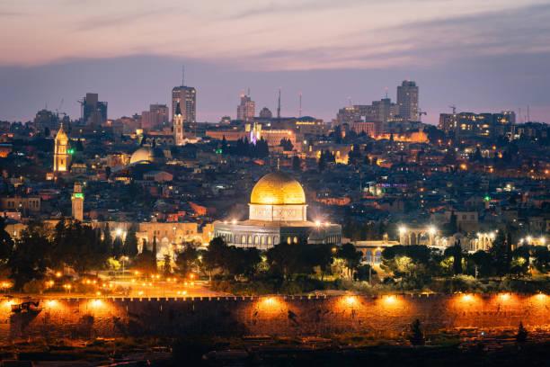 Jerusalem Sunset Twilight Temple Mount at Night Israel stock photo