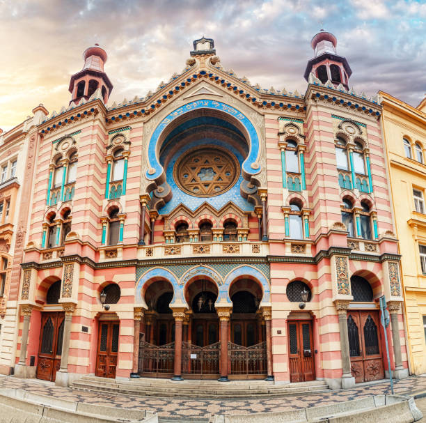 Jerusalem Synagogue colorful facade panorama at sunset in Prague, Czech Republic stock photo