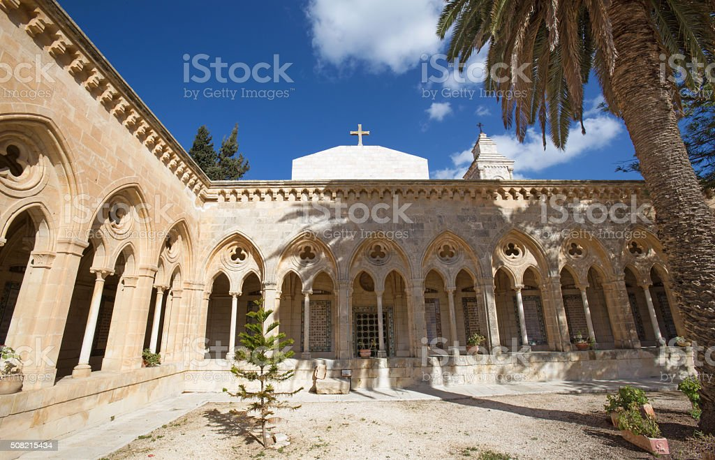 Jerusalem - The atrium in Church of the Pater Noster stock photo