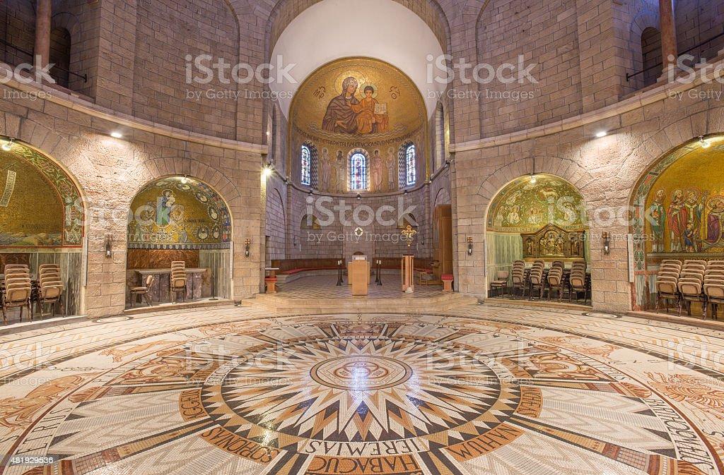 Jerusalén de la dormición abadía con piso de mosaico. - foto de stock