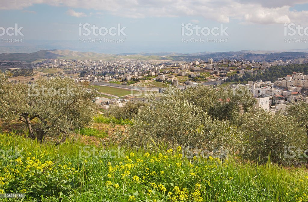 Jerusalem - The outlook from Mount of Olives to east. stock photo