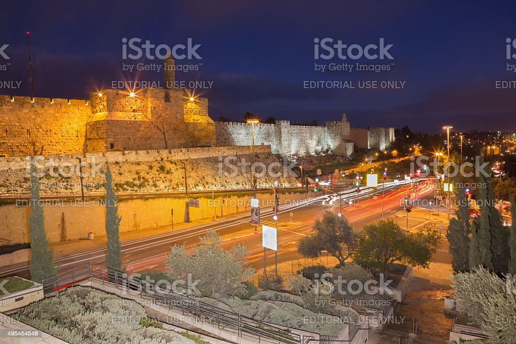 Jerusalem - The tower of David and town walls stock photo