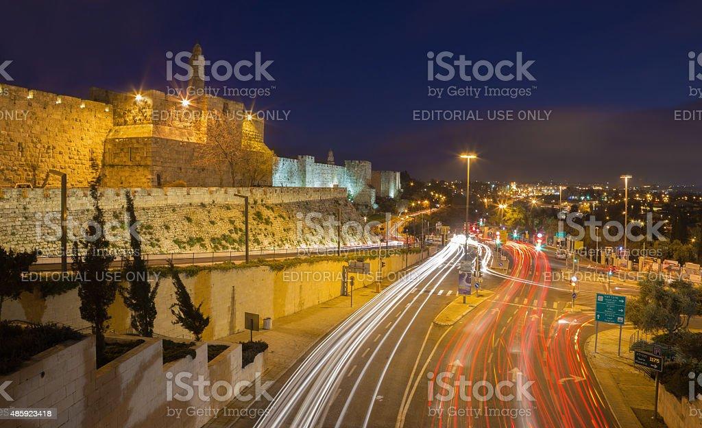 Jerusalem - The tower of David and walls stock photo
