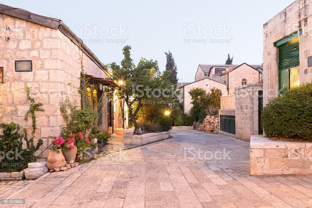 Jerusalem - The Yemin Moshe Neighborhood at Sunset stock photo