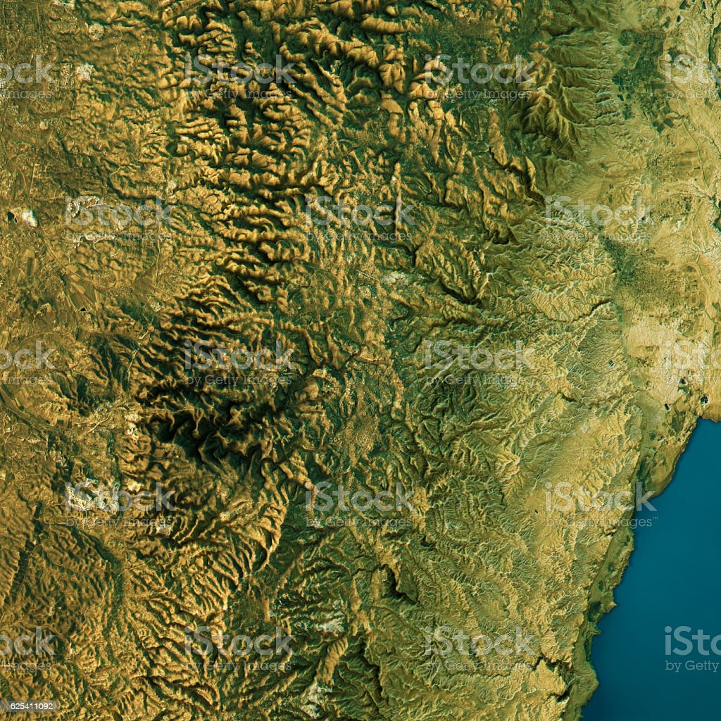 Jerusalem Topographic Map Natural Color Top View stock photo