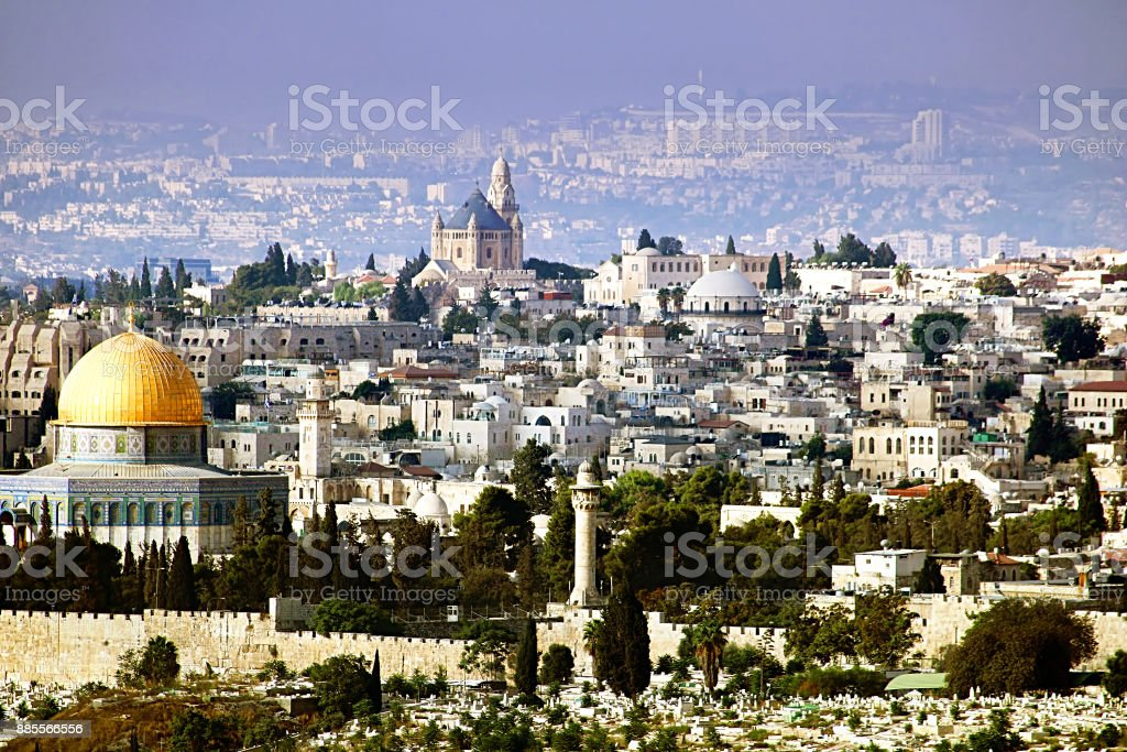Jerusalem view from the Olive mountain, Israel stock photo