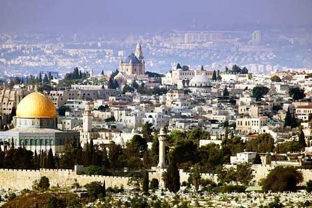 jerusalem-blick von der olive mountain, israel - jerusalem stock-fotos und bilder