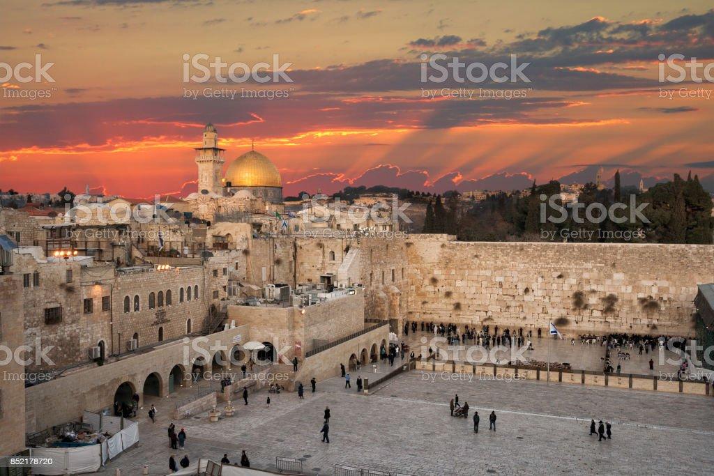 Jerusalem Wailing Wall sunset stock photo