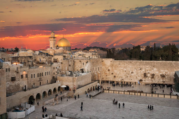 Jerusalem Wailing Wall sunset Western Wall at the Dome Of The Rock on the Temple Mount in Jerusalem, Israel jerusalem old city stock pictures, royalty-free photos & images