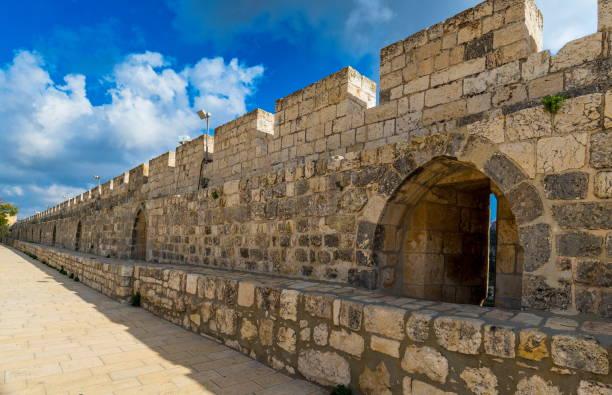 Jerusalem Wall Jerusalem Old City walls on the Temple Mount jerusalem old city stock pictures, royalty-free photos & images