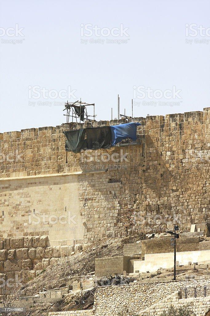 Jerusalem wall repairs royalty-free stock photo