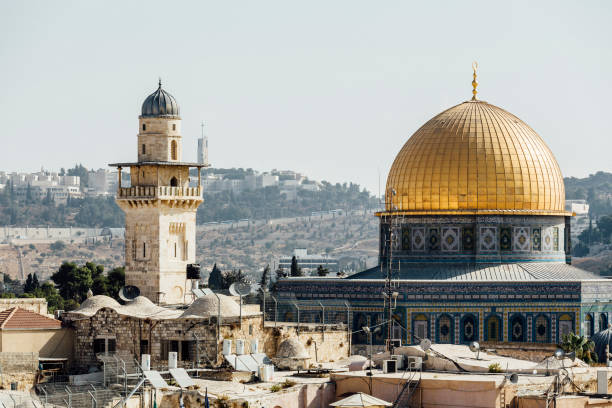 Jerusalem western wall view, Al-Aqsa Mosque and Jerusalem Archaeological Park Israel, Middle East Jerusalem western wall view, Al-Aqsa Mosque and Jerusalem Archaeological Park Israel, Middle East east jerusalem stock pictures, royalty-free photos & images