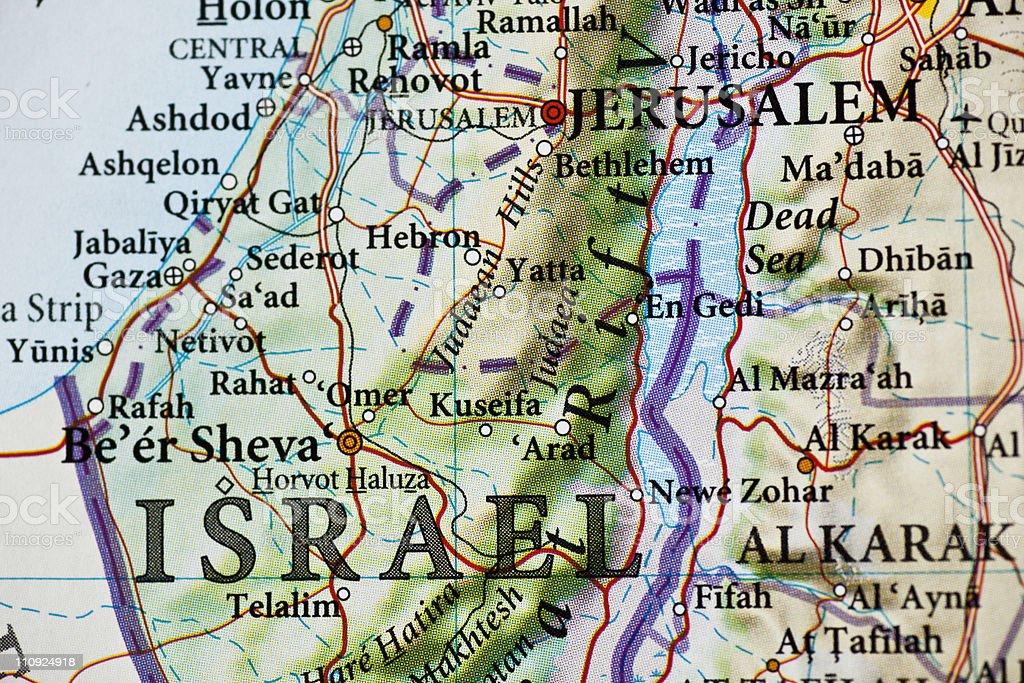 Jerusalem,Israel map royalty-free stock photo