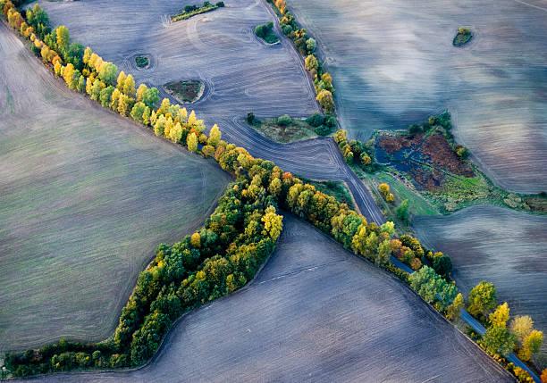 Jesień z lotu ptaka stock photo