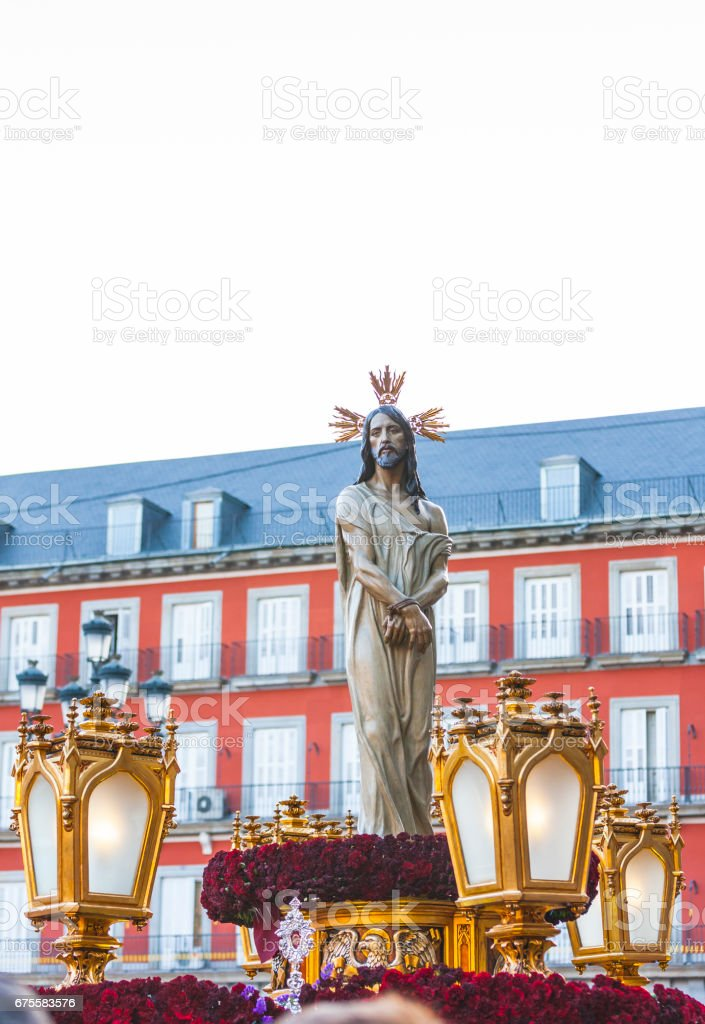 Jesús el cautivo, in the procession of Holy Week in Madrid, April 13th, 2017 stock photo