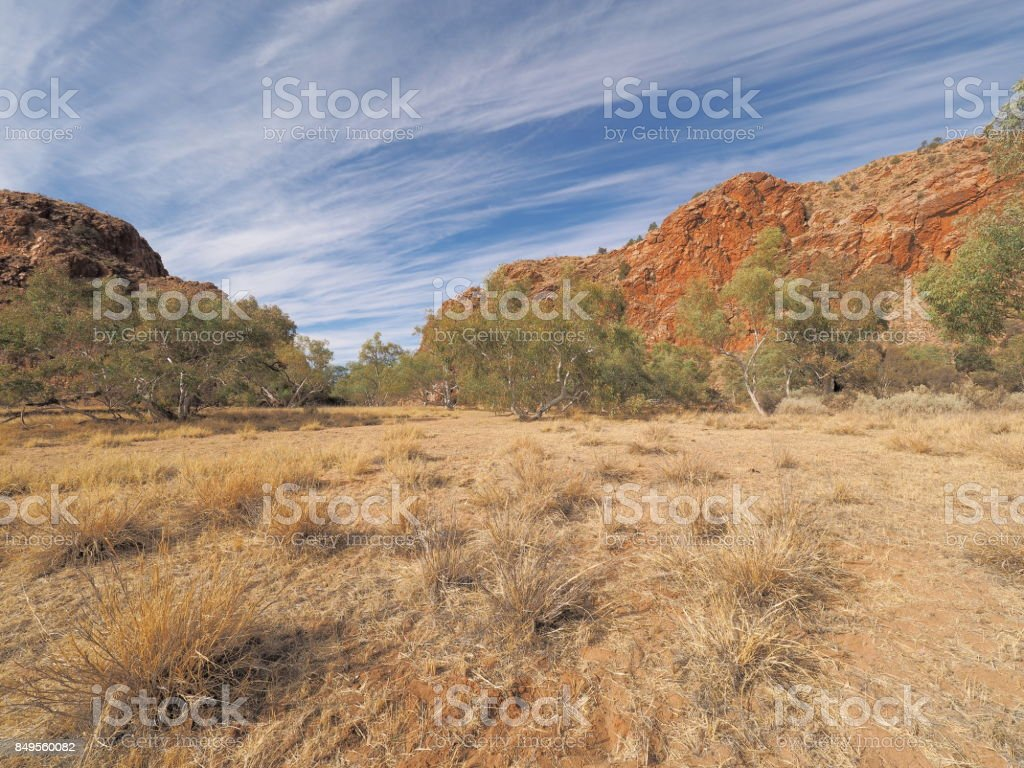 Jessie Gap form the north, MacDonnell ranges, outback Alice Springs stock photo