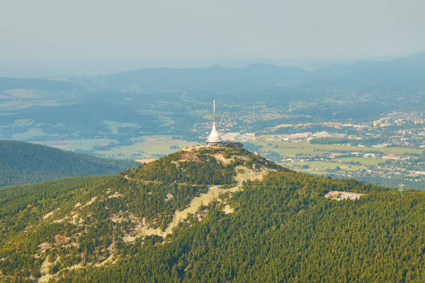 Jested, Czechia - 08/25/2019: Aerial view of Jested tower transmitter near Liberec in Czechia. stock photo