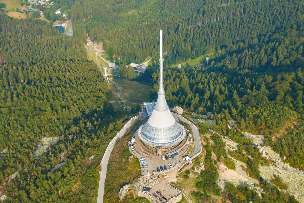 Jested, Czechia - 08/25/2019: Close up aerial view of Jested tower transmitter near Liberec in Czechia. stock photo