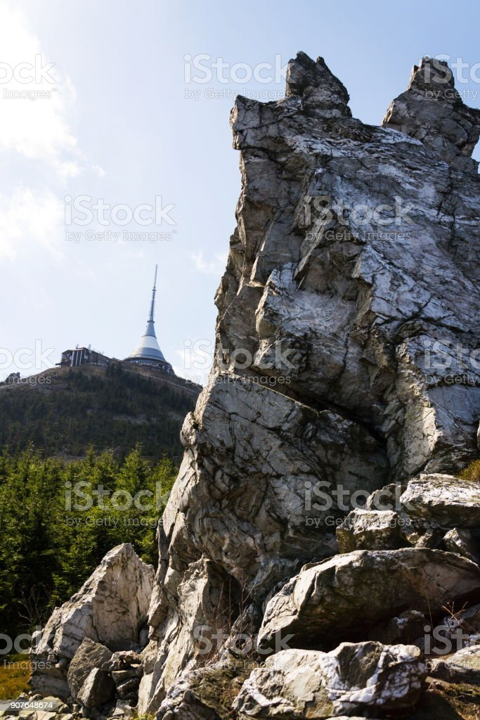 Jested telecommunication transmitter tower on Jested Mountain, Liberec, Czech Republic stock photo