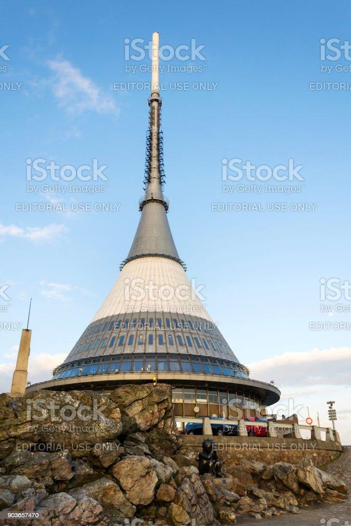 Jested tower, telecommunication transmitter on Jested Mountain, Liberec, Czech Republic stock photo