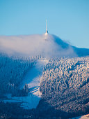 istock Jested transmitter and mountain hotel hidden in the clouds 621839166