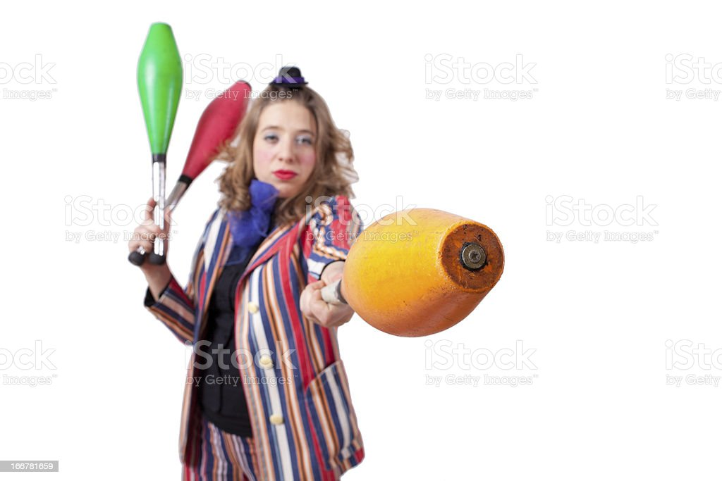 jester playing with skittles royalty-free stock photo