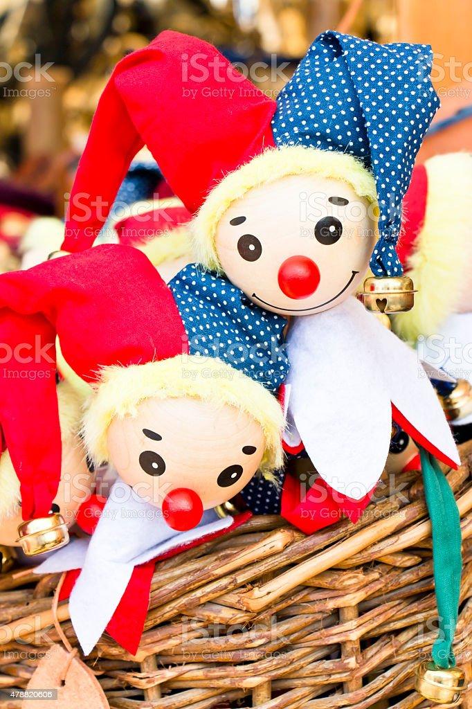 Jester Puppets in a Wicker Basket stock photo
