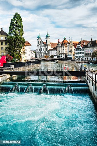 istock Jesuit Church and Reuss River in old town Lucerne, Switzerland 1084488454