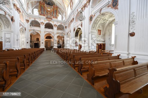 The Jesuit Church in Lucerne is the first large Baroque church built in Switzerland north of the Alps. The construction of the church began 1667 and was partially finished in 1677. The image shows the interior of the impressive building.