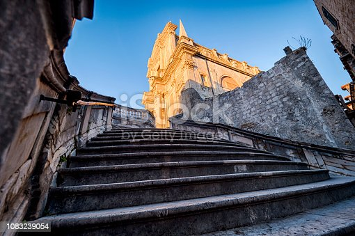 Jesuit Stairway and Saint Ignatius church at sunrise in Dubrovnik old town