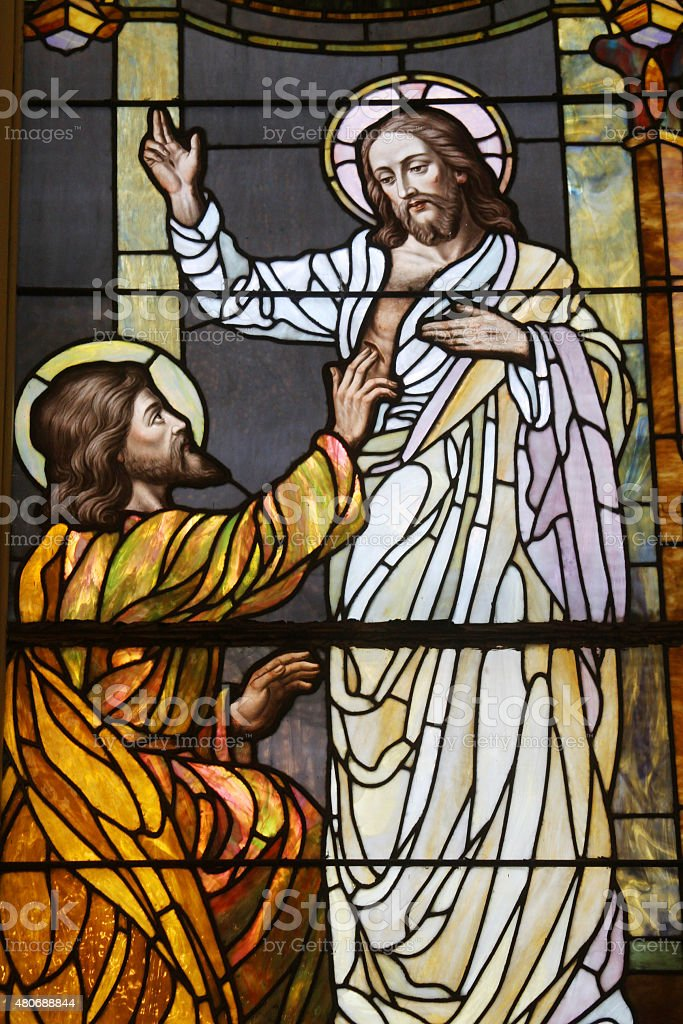 Jesus After The Resurrection-Stained Glass Panel stock photo