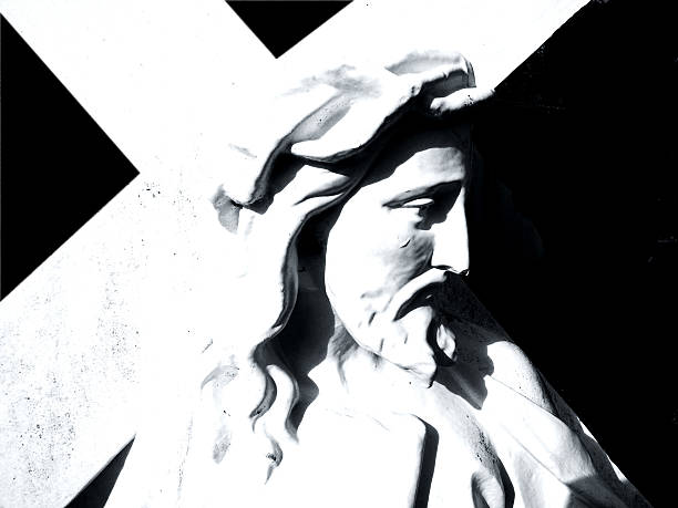 jesus & cross profile stock photo