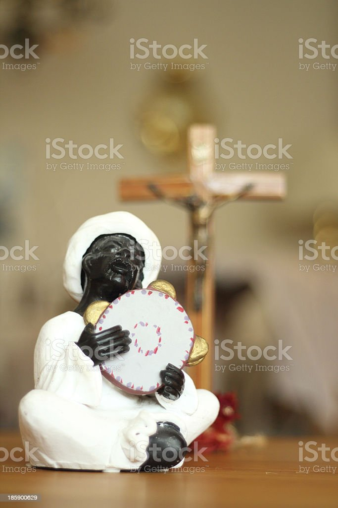 Jesus and a worshiping nubian stock photo