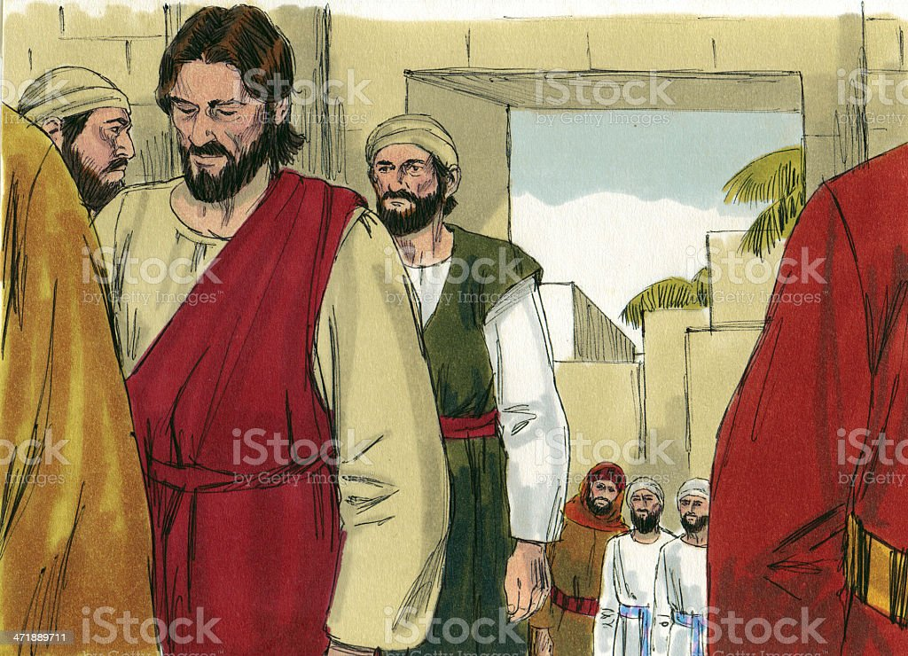 Jesus and Disciples Leave Jerusalem royalty-free stock photo