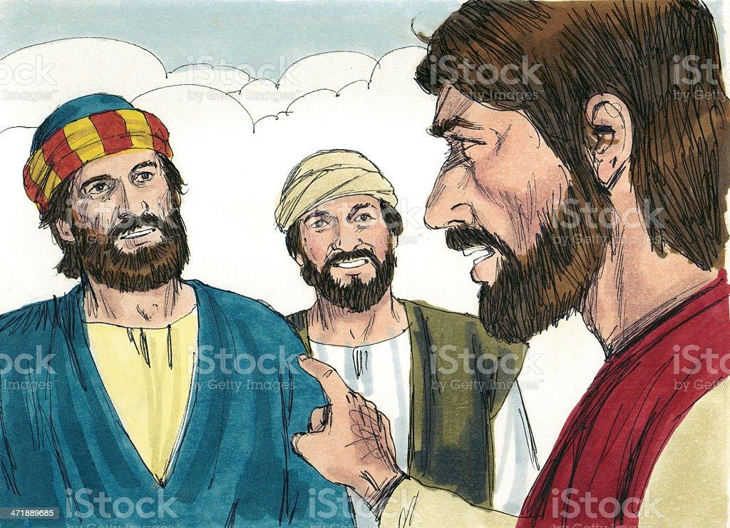 Jesus and Simon Peter stock photo