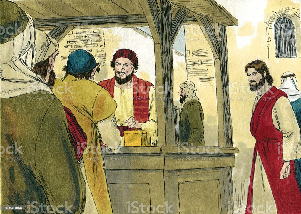 Jesus and Tax Collector Booth stock photo