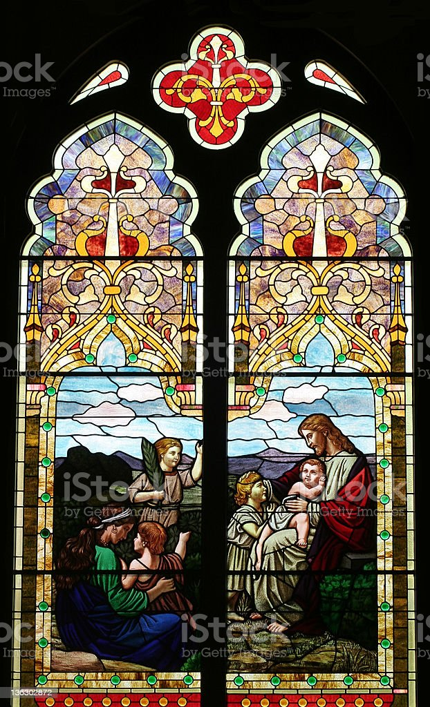 Jesus and the Children Stained Glass royalty-free stock photo