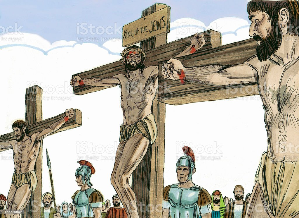 Jesus and Thieves on the cross royalty-free stock photo