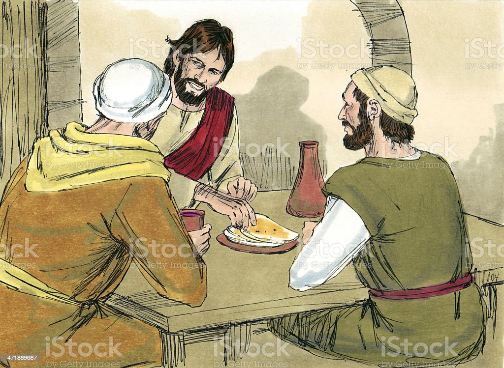 Jesus and Two Disciples stock photo