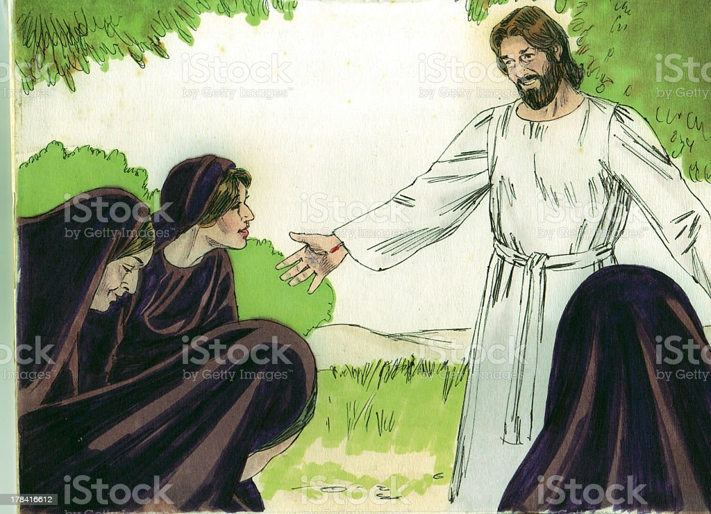 Jesus Appears to Women stock photo