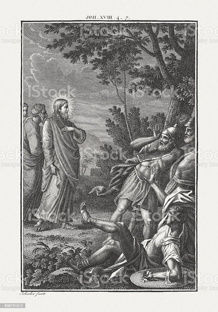 Jesus' Arrest (John 18, 6), copper engraving, published c. 1850 stock photo