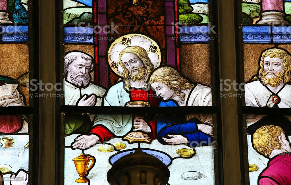 Jesus at Last Supper on Maundy Thursday stock photo