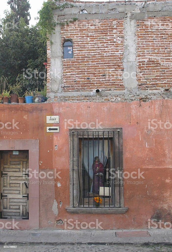 Jesus Behind Bars, Mexico stock photo