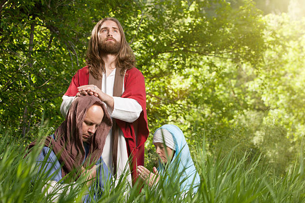 Jesus Blessing His Followers stock photo