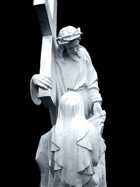 Jesus Blessing with the cross stock photo